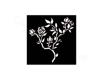 Rose Stencil SVG & Studio 3 Cut File Stencils for Silhouette Cricut Brother Files Cutouts Svgs Template Stained Glass Pattern Flower Flowers