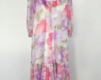 1960s Vintage Elizabethan Flower Dress Victorian Inspired Tea Dress Romantic Dress Vintage Dresses for Women Ruffled Dress Feminine Dresses