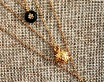 Beautiful set of 3 necklaces 40/50/60 cms pendants plated antique black and pink glass, Sun, vermeil medal gold stacking Valentines gift