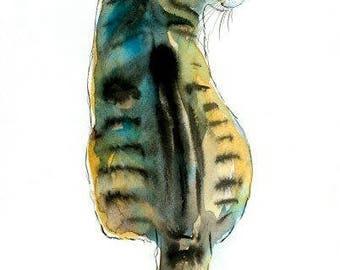 Sitting Tabby Cat Original Watercolor Painting