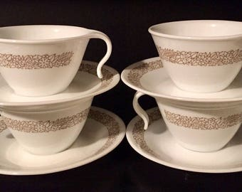 Four (4) Vintage Corelle WOODLAND BROWN Hook Cups and Saucers