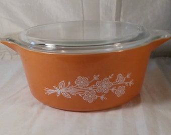 Vintage Orange Pyrex Casserole Dish with Lid, Pyrex Baking Dish, Pyrex Serving Bowl