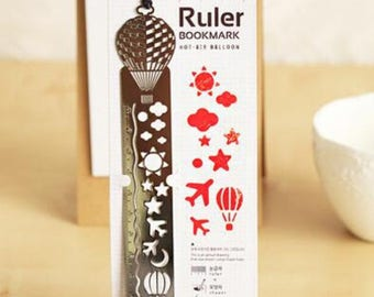 Metal 3 in1 ruler: ruler, book marker and stencil