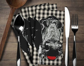 Cow Napkin Set (4 pieces), Cow Decor, Cow Linen Set,Napkins Cloth Set,Napkins,Have  fun in your kitchen or at tea time!