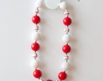 Baseball Bubblegum Necklace ,Bubblegum necklace, Cake Smash Necklace, Chunky Necklace, Children's Necklace, Valentine's Day Necklace
