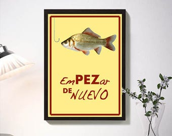 """Start of Nuevo""""lámina red yellow color, fish hook, affiche, poster, reproduction, illustration, original design, nice gift love, wall art"""