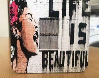 Banksy Coaster #3 - Banksy Gift - Banksy Coaster - Custom Coaster -Gift for Her - Gift For Him - Fridge Magnets - Banksy Magnet - Souvenir