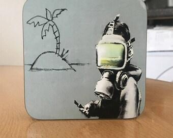 Banksy Coaster #43 - Banksy Gift - Banksy Coaster - Custom Coaster -Gift for Her - Gift For Him - Fridge Magnets - Banksy Magnet - Souvenir