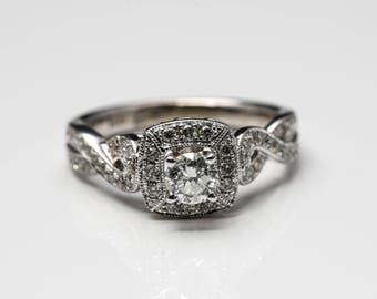 Women's Authentic Diamond Halo 14K White Gold .85+ctw. Engagement Ring