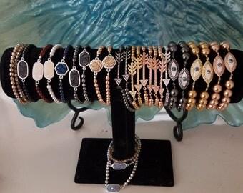 Swarovski pearl & druzy bracelet multiple colors