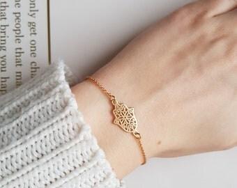 Gold Hamsa Hand Bracelet   Gold Fatima Bracelet   Dainty Hamsa Bracelet   Simple Gold Bracelet   Protection Bracelet  
