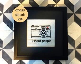 Camera cross stitch kit | modern cross stitch | beginner cross stitch | funny cross stitch | subversive cross stitch