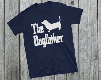 The Dogfather t-shirt, Basset silhouette, funny dog gift, The Godfather parody, dog lover shirt, dog gift, Short-Sleeve Unisex T-Shirt