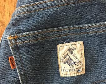 "Vintage 70s orange tab high waisted Prospector denim Levis / 26"""