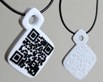 3D Printed QR Code Necklace - Custom Bespoke Design Costume Jewellery
