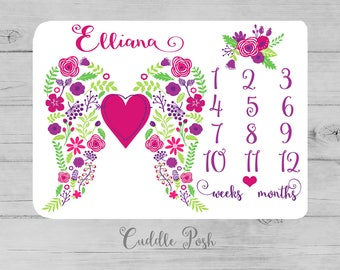 Baby Girl Milestone Blanket, Angel Wings, Floral Newborn Photography Backdrop, Month Growth Chart Quilt, Personalized Girl Shower Gift