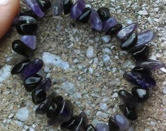 Amethyst and Black Obsidian Bracelet