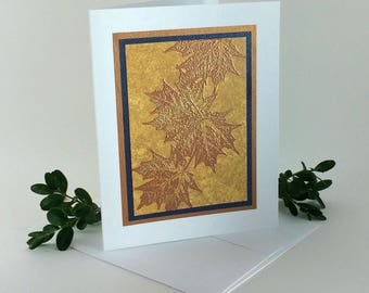 Gold and copper embossed maple leaf blank card, individually made: A2, notecards, fine cards, SKU BLA21015