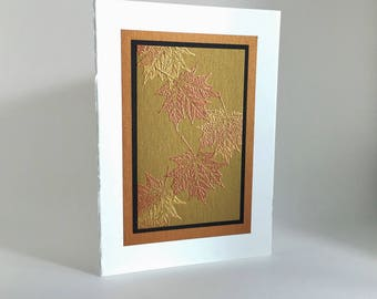 Elegant falling maple leaves embossed blank card, individually handmade, not a reproduction: A7, notecards, fine cards, SKU BLA71001