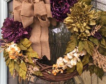 Everyday Wreath, Front Door Wreath, Burlap Bow, Indoor and Outdoor Wreath, Peony Wreaths, Floral Wreaths
