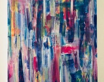 "Inspiring.  Canvas acrylic painting. Size 18 ""x 24""."