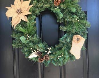 Evergreen wreath, pine cone wreath, Christmas wreath, artificial wreath, holiday wreath