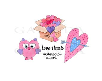 Watercolor Hearts Clip Art, Romantic Clip Art, Valentines Clipart, Love Clipart, Watercolor Love Elements, Cute Love Hearts Clipart, Heart
