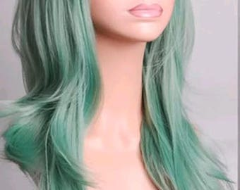 Customizable - SEAFOAM EMERALD GREEN -  long straight wavy Wig w/ bangs - scene emo cosplay anime punk lolita mermaid hair styles real Wig -
