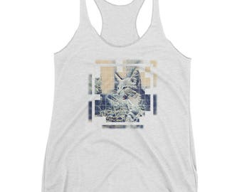 Cat and Art Lovers/Fierce Cat/Women's Shirt/The Great Wave/Kitty Rawr/Design T-shirt/ Racerback Tank/Warrior Cat/ Animal Guide/Spirit Animal