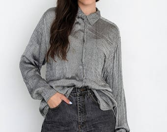 VINTAGE Grey Long Sleeve Slip Retro Shirt