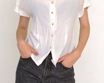 VINTAGE White Short Sleeve Retro Top Shirt