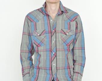 VINTAGE Grey Checked Long Sleeve Button Downs Retro WRANGLER Shirt