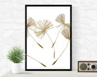 Dandelion   Digital Print   Home Decor   Gold Glitter