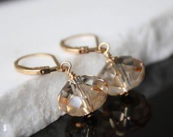 Swarovski Crystal Earrings l Gold Earrings l Dangle Earrings l Golden Shadow Crystal Earrings