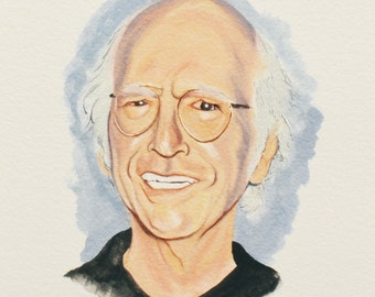 LARRY DAVID Painting, Seinfeld, Curb Your Enthusiasm, Celebrity Portrait, TV Show Art, Original gouache painting