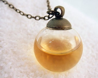 Bubble necklace / whiskey necklace / glass globe pendant / whiskey lovers / booze gifts / food jewelry / alcohol gifts for bartenders