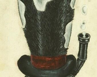 Steampunk Bird Skull - charcoal drawing