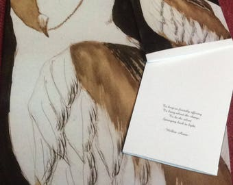 Print and card set, owl painting, poem