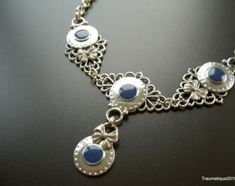 Boho navy blue and ribbon necklace and earring set silverplated