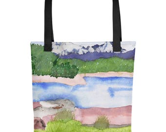 Colorado Mountains - Amazingly beautiful full color tote bag with black handle featuring children's donated artwork.