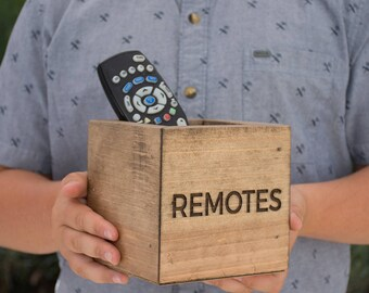 Personalized Rustic Wood Remotes Box Remote Holder Man Cave