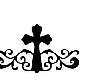 Cross with scrollwork SVG cutting file