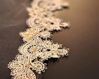 Chapel Veil - Chapel Length Wedding Veil - Beaded Lace Wedding Veil - Crystal beaded veil - Wedding Veil with Pearls