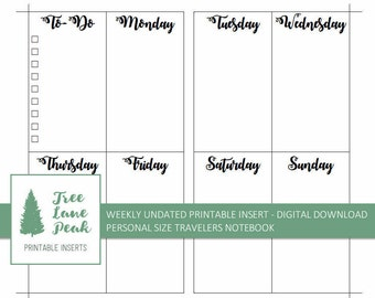 Weekly WO2P UNDATED Printable TN Insert - Personal Size