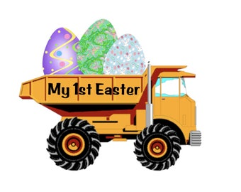 My 1st Easter Printed Vinyl Decal, Easter Eggs, Truck Decal, First Easter
