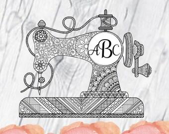 Sewing Machine Monogram Printed Vinyl Decal, Sewing Machine, Printed Decal, Monogram, Sewing, Zentangle