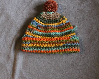 Handmade crochet  baby hat with pom pom, winter hat,colorful hat,wool acrylic hat,hippie hat, hat with pom pom, crazy hat, warm and soft hat
