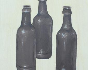 Three Bottles on Wood