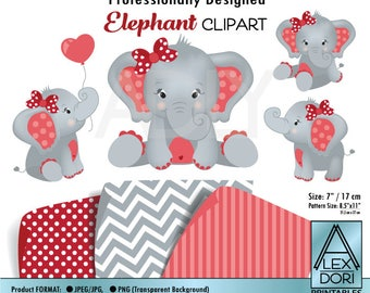 Girl Elephant Clipart, Red and gray peanut clip art, png file. Nursery, Baby Shower decoration,birthday, instant download comm use