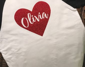 Personalized Sparkling Heart Shirt- Baseball Tee
